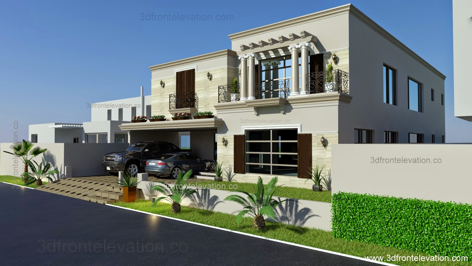 3d front 1 kanal spanish house design plan for Spanish house design