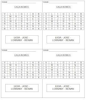 Atividade para alfabetização - Complete o alfabeto e coloque os nomes em ordem alfabética - Caça-nomes