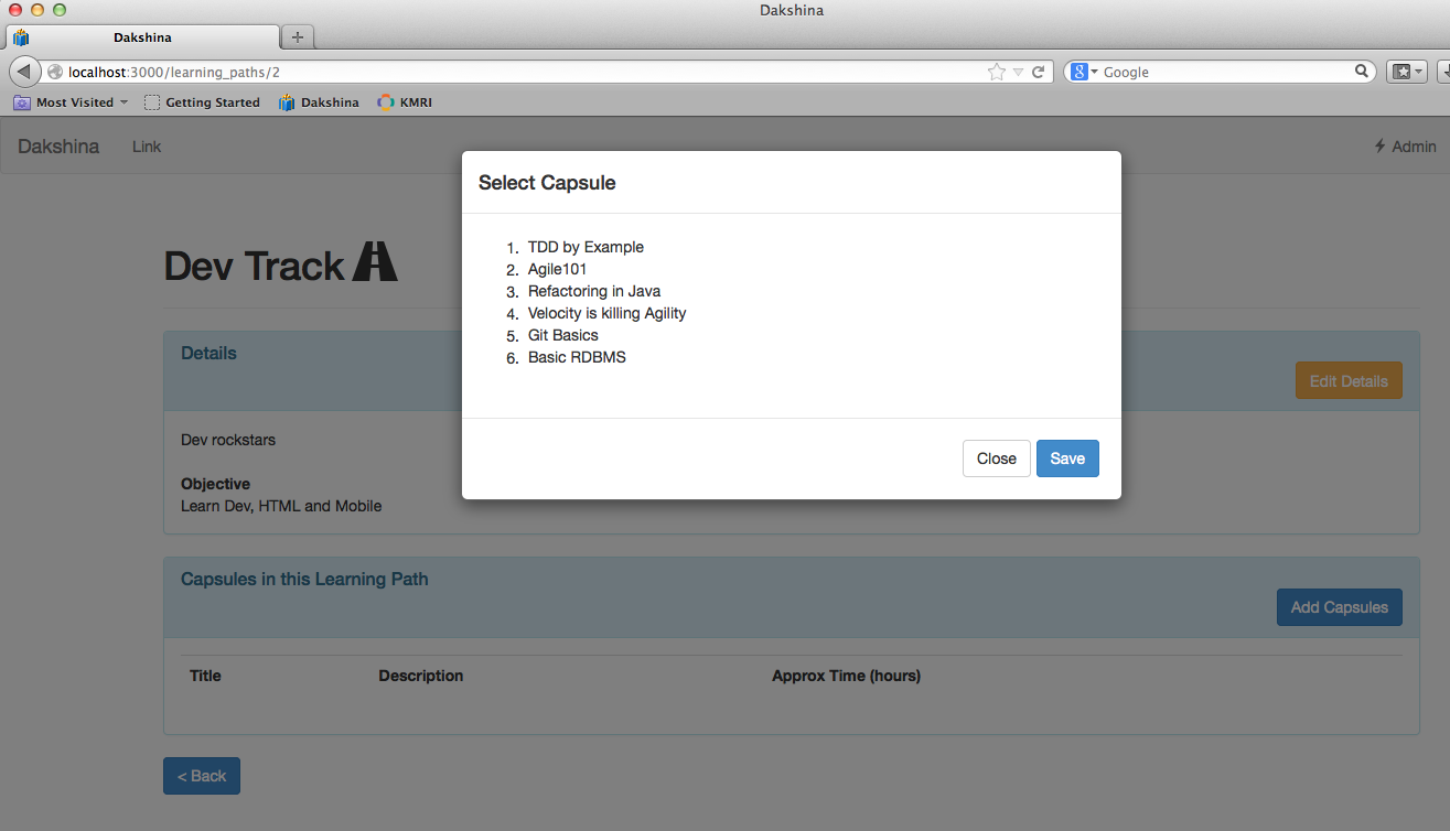 A techies notebook displaying a bootstrap modal in rails with an bootstrap modal pop up on click of add capsules button with ajax response body falaconquin