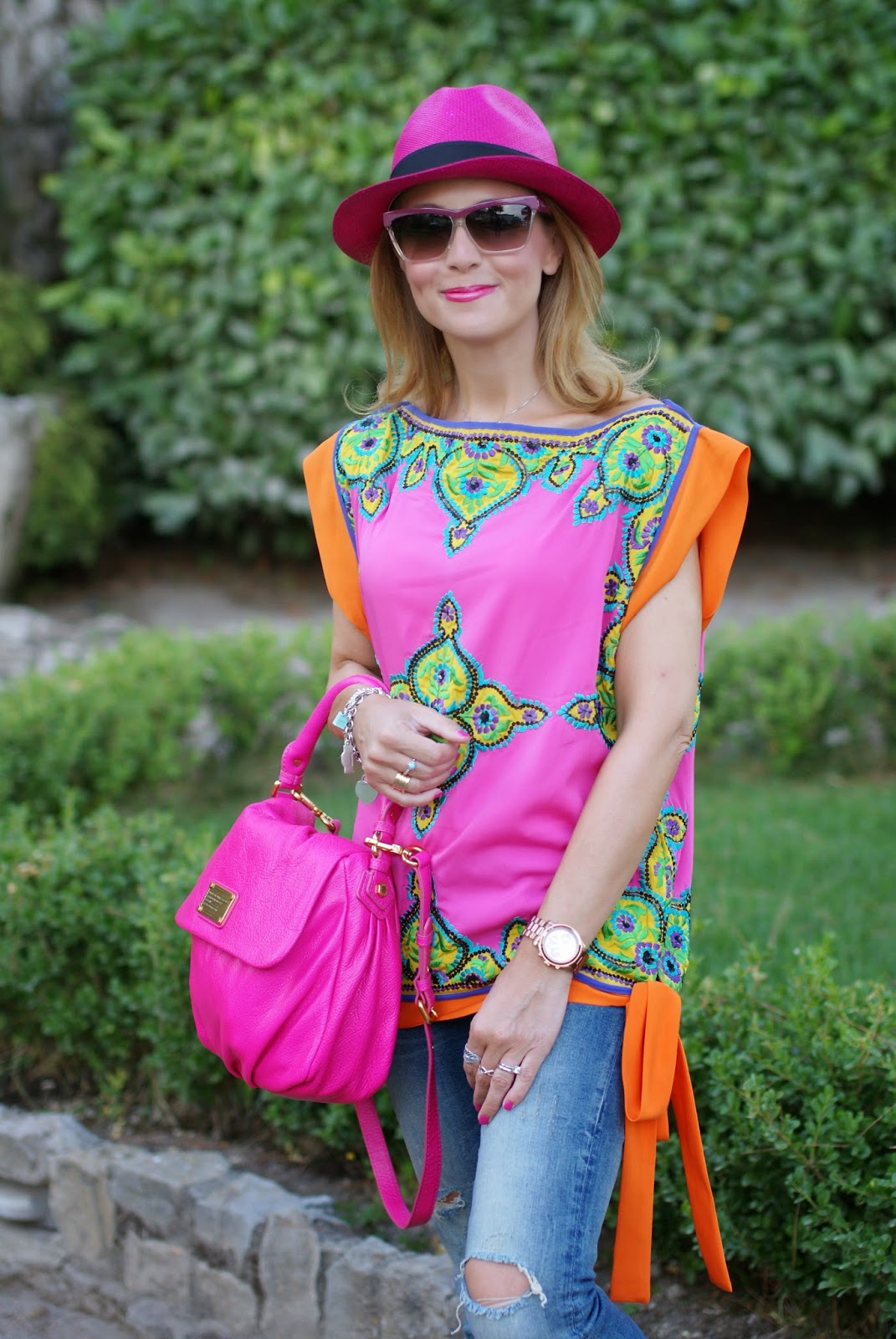 Preeti S Kapoor top, Little Ukita bag, Ecua-Andino hat, Fashion and Cookies, fashion blogger