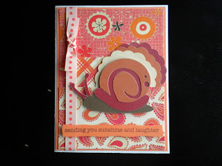 Cricut Expression project using the snail from the Live Simply Cartridge and Hippie Chic paper pack