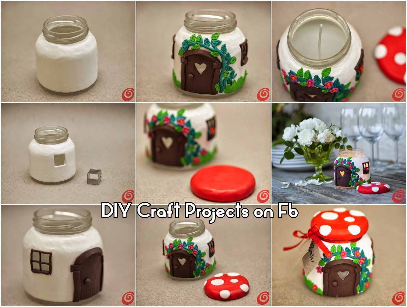 glass jar mushroom house diy craft projects