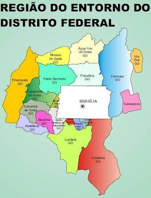 Mapa da Região Integrada de Desenvolvimento do Distrito Federal e Entorno - RIDE, popularmente chamada de
