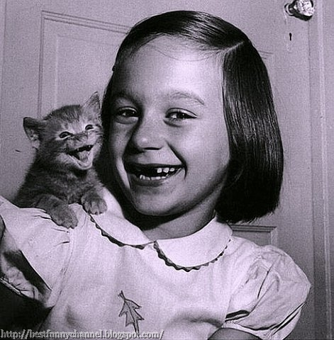 Girl and kitten.