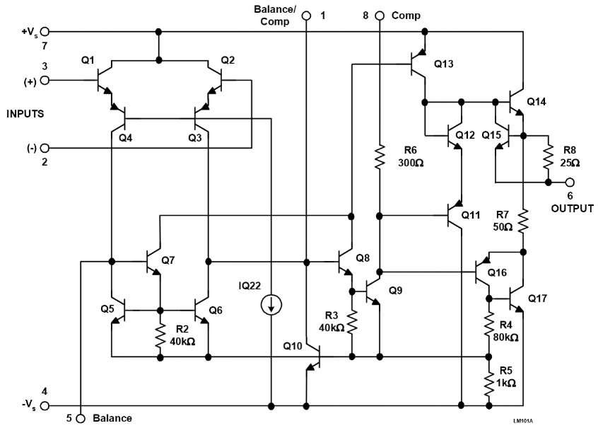 Упрощенная схема LM101