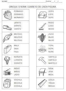 Atividades para alfabetização. Circule o nome - Hipótese de escrita pré-silábica.