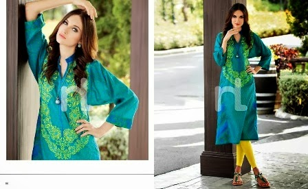 Two Color Lawn Dresses 2014-2015
