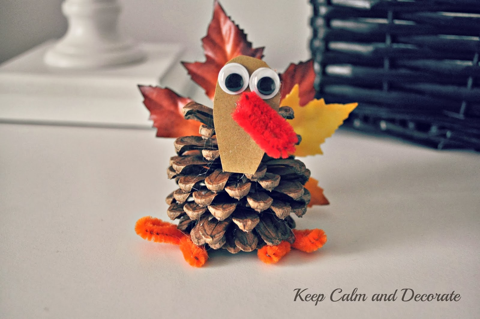 Keep Calm And Decorate Monogrammed Pinecone Turkeys