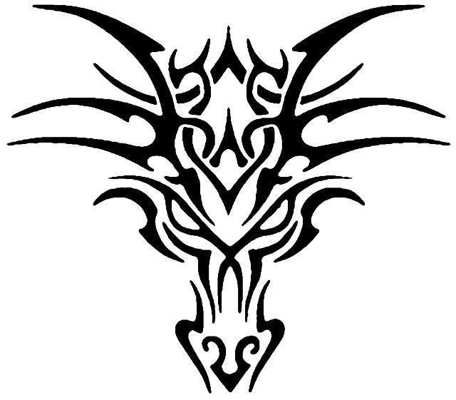 Tribal head dragon tattoos for men