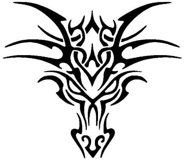 4 tribal head dragon tattoos