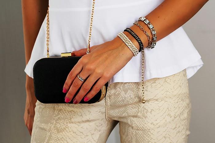 peplum top, python print skinny jeans, mini clutch, total white