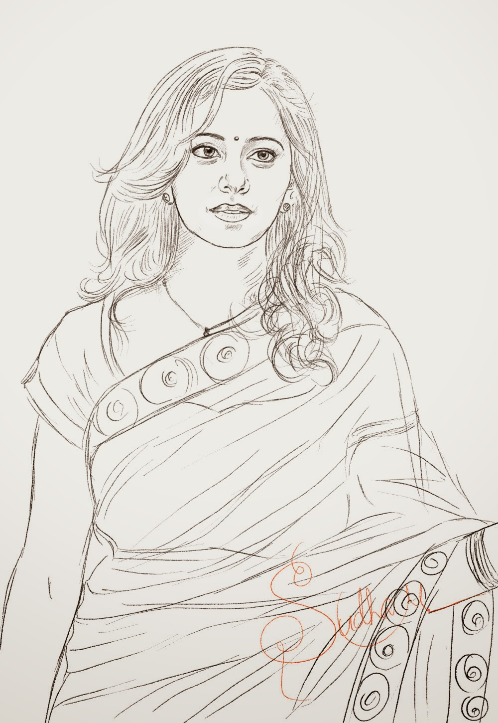 Drawing of rakul preet singh beautiful indian actress sketch in saree