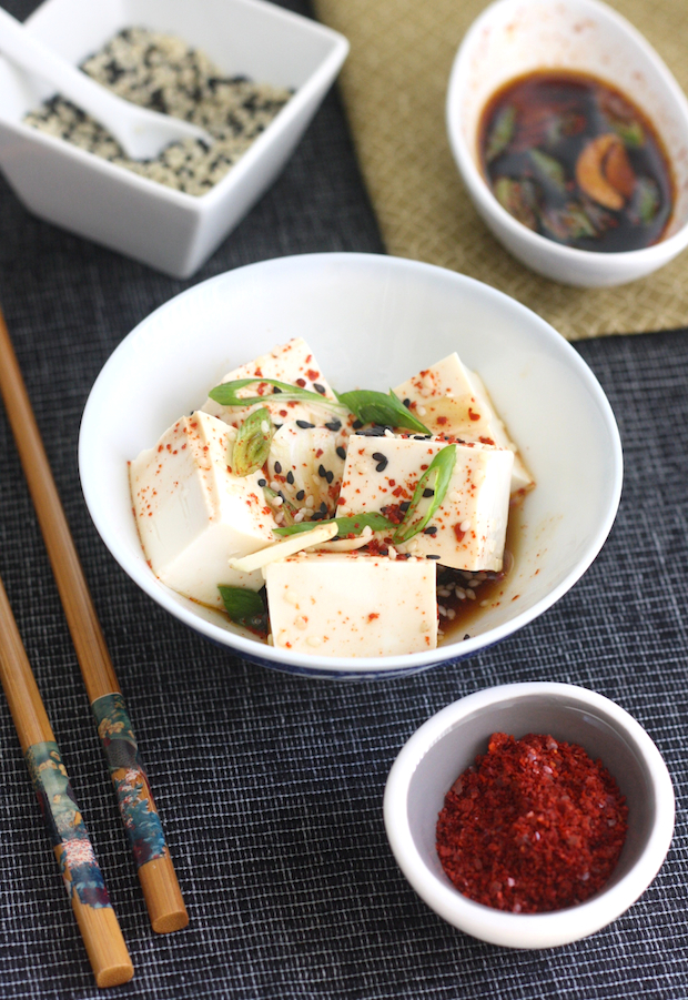 Korean Chili Chilled Tofu recipe by SeasonWithSpice.com