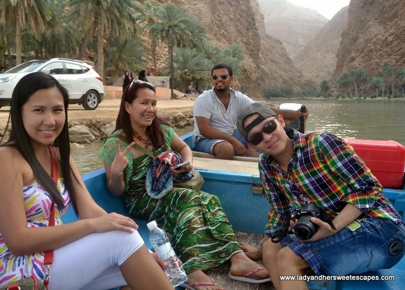 boat ride in Wadi Shab