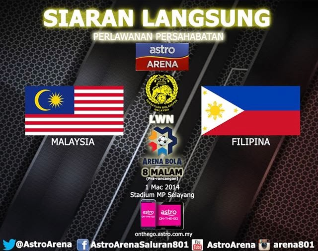 Live Streaming Malaysia Vs Filipina 2014 Perlawanan Persahabatan 1 March 2014