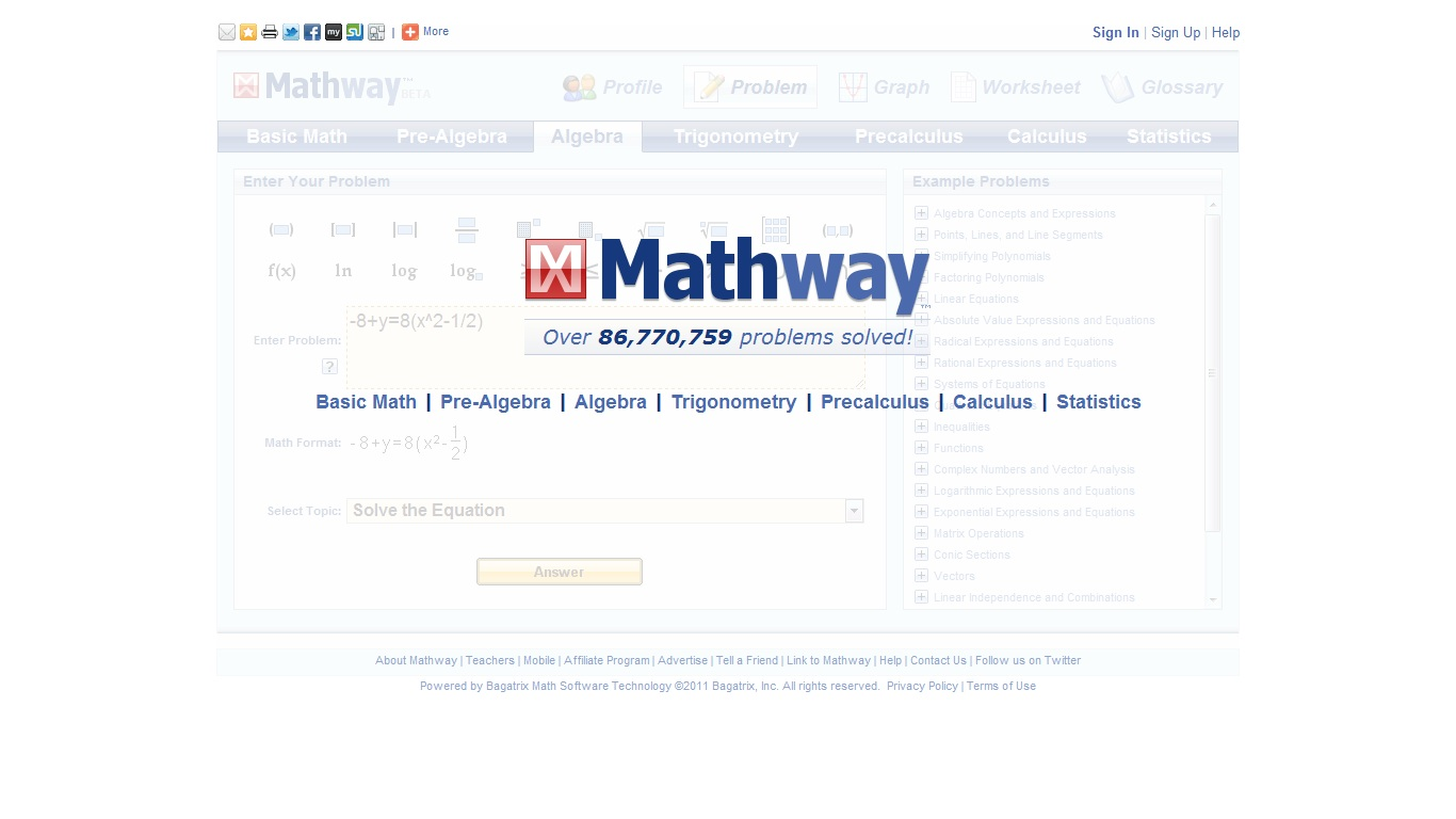 Problogtivity: Mathway Online Application