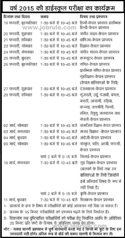 UP Board Examination 2015 Date Sheet Schedule | UP School Board Class 10th & 12th Final Examination Program Chart