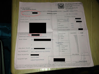 PNB Singapore remittance receipt