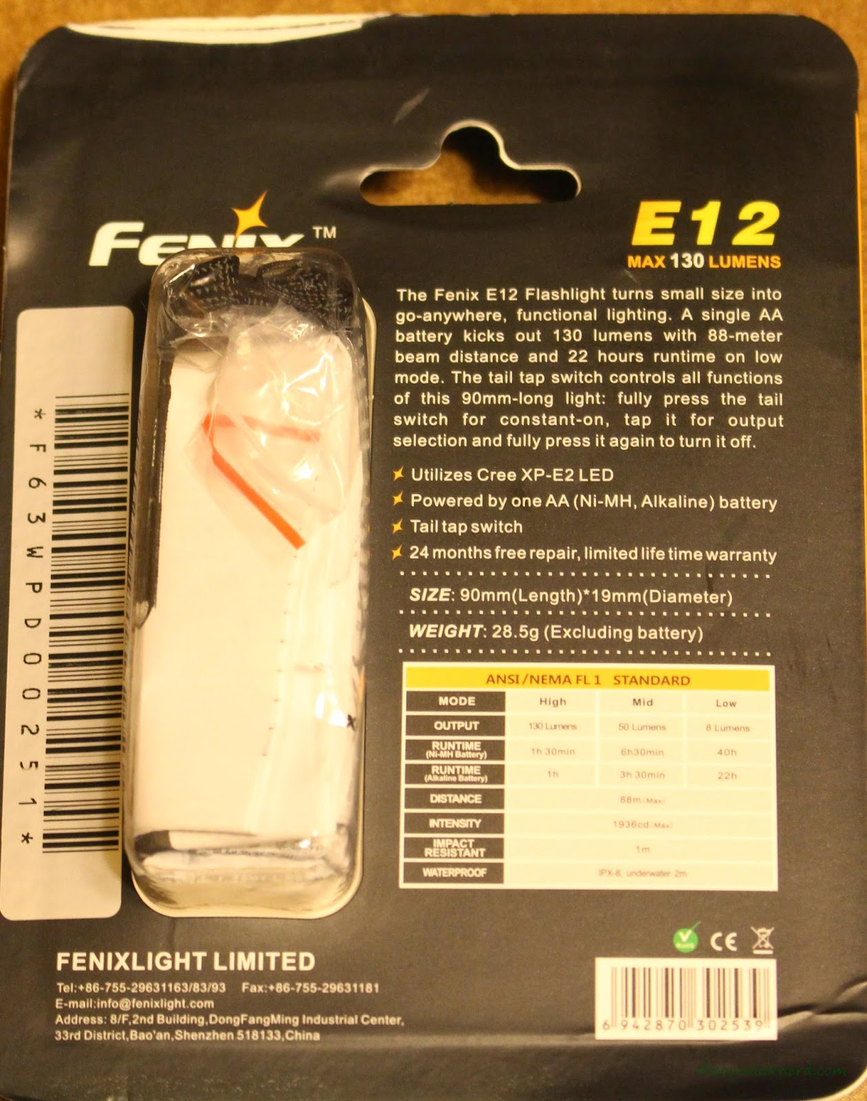 Fenix E12 1xAA EDC Flashlight Packaging 3