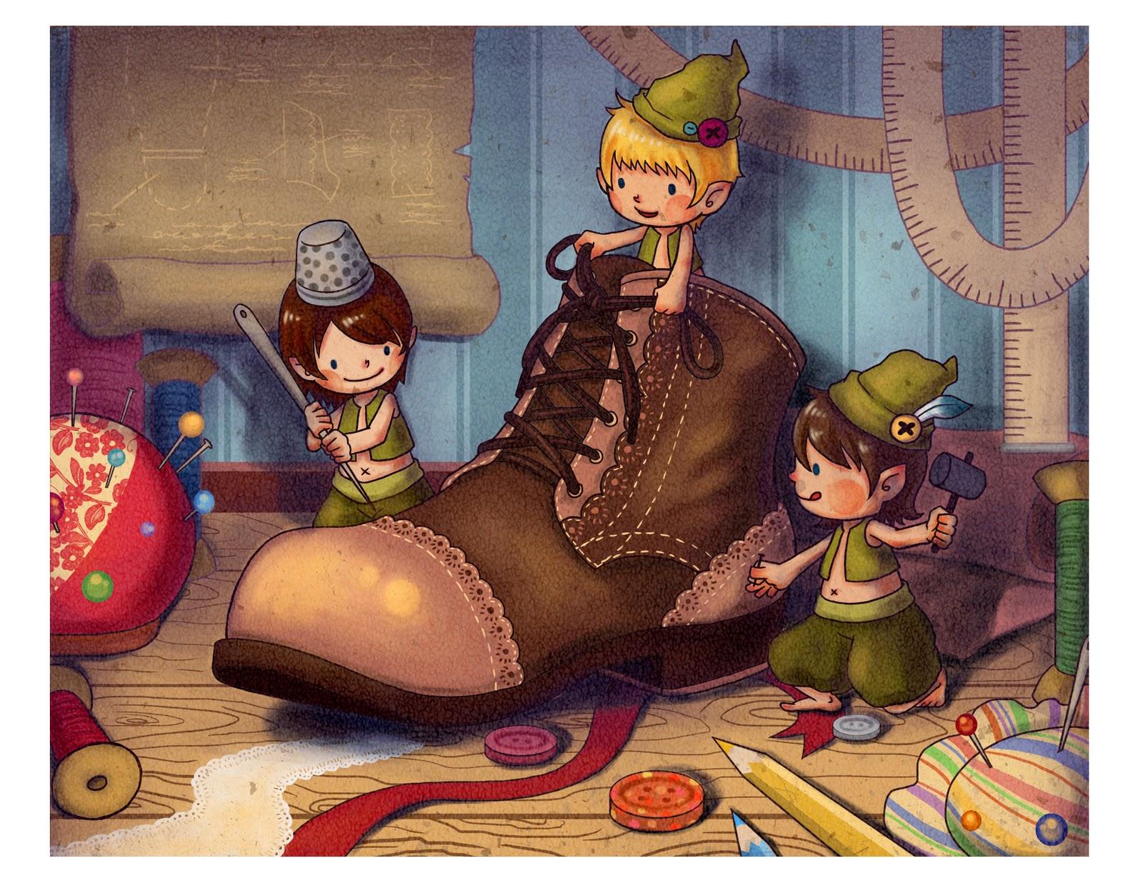 Illustration for The Elves and the Shoemaker - shoemaker