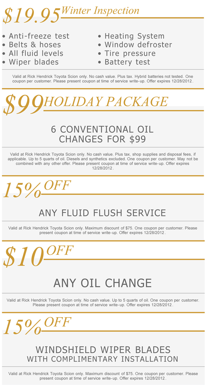 ... December 28th From Rick Hendrick Toyota! And Weu0027re Giving You An  Additional 10% Off Any Service When You Schedule Your Appointment Online.