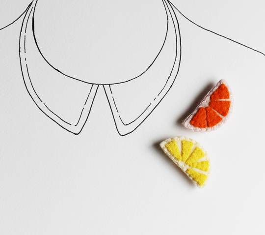 Lemon felt brooch and Orange felt brooch by My Hideaway on Etsy