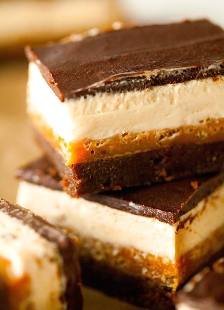 Holy guacamole, these bars look amazing :) Chocolate, caramel, nougat ...