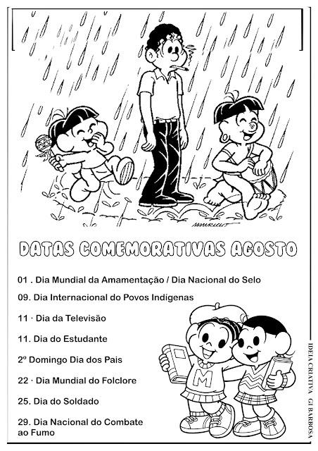 Datas Comemorativas Agosto Turma da Mônica