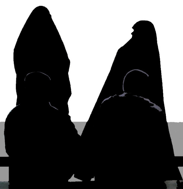 silhouetted muslim women with husbands