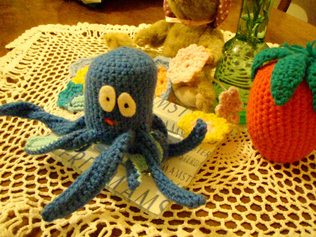 blue crochet octopus strawberry flowers funny plush toys