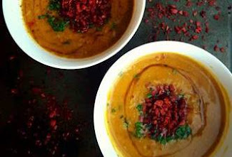 "Sweet Potato, ""Bacon"" & Maple Soup"