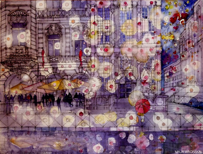 10-Girl-with-a-Red-Umbrella-Maja-Wronska-Travels-Architecture-Paintings-www-designstack-co