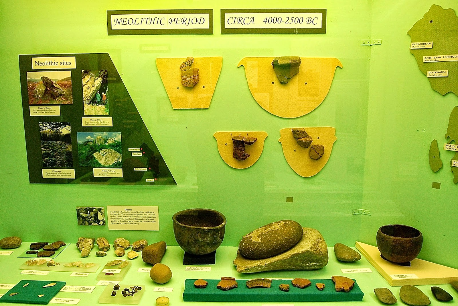 Neolithic items on display in Bute Museum