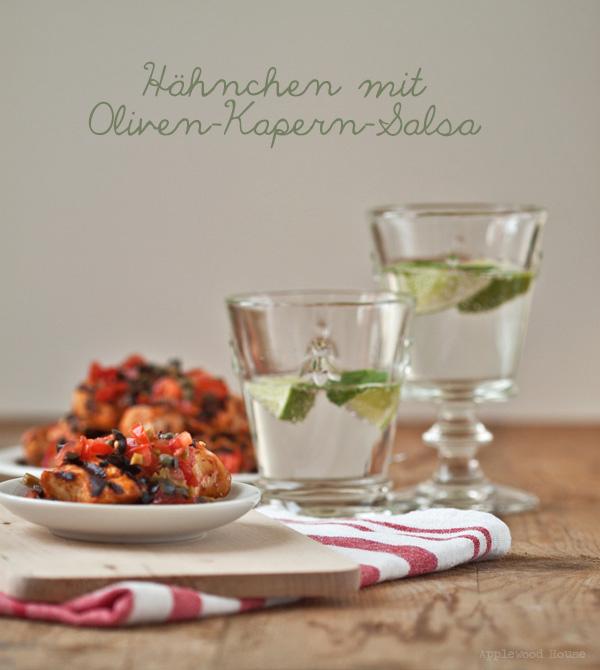 Hähnchen Spieße Oliven Kapern Tomate