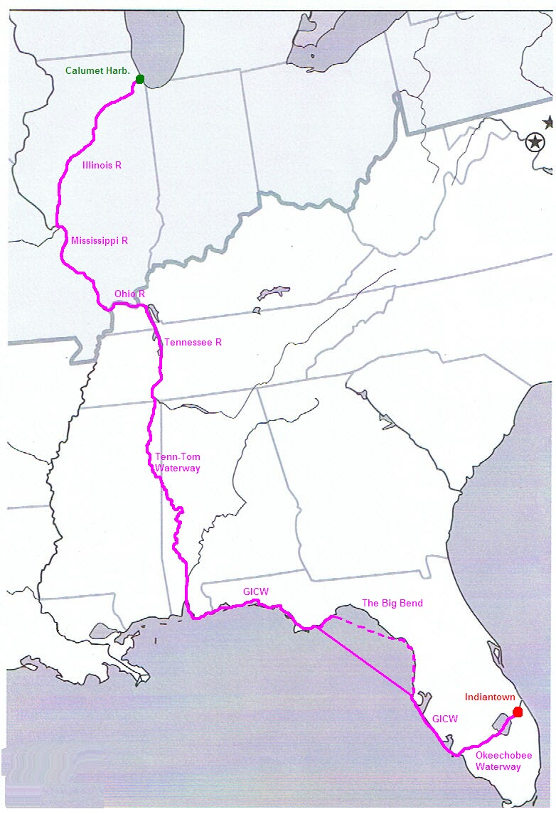 so i have put a magenta line on a map of the eastern us which shows our intended route on this one i have put some relevant data such as river names