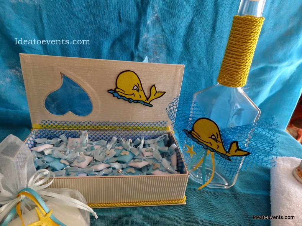Στολισμός βάπτισης κουτί μαρτυρικών μπουκάλι φαλαινάκι