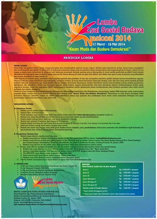 Lomba Esai Sosial Budaya Nasional 2014