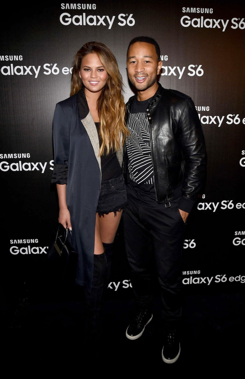 Chrissy Teigen shows off legs in Daisy Dukes at the Samsung Studio Launch in LA