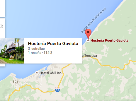 mapa Hosterías turísticas en Ecuador Atacames - Hostería Puerto Gaviota