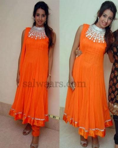Sanjana Orange High Neck Salwar