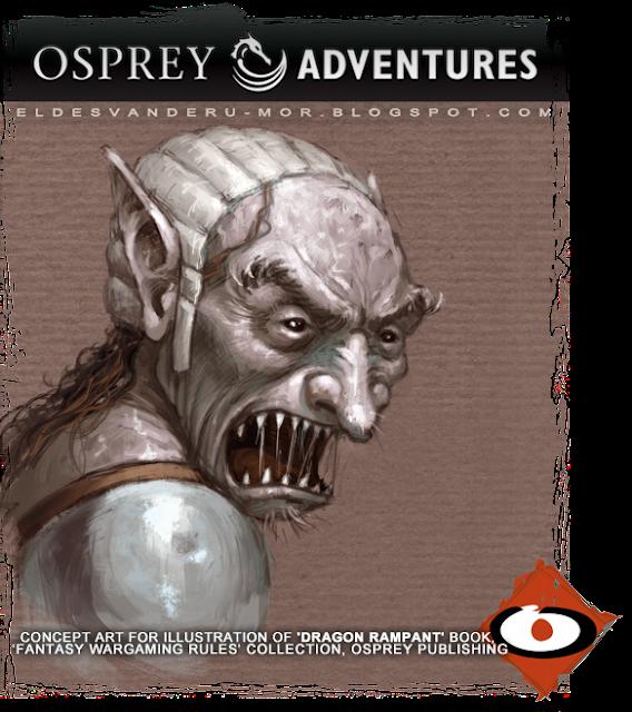 concept art sketch for illustration of Dragon Rampant book, done by RU-MOR for OSPREY Publishing, fantasy wargame