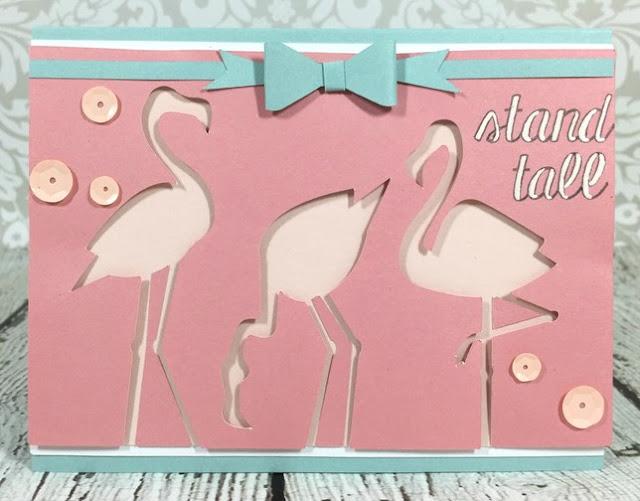 Cricut Three Flamingos Card