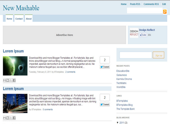 Mashable Like Blogger Templates