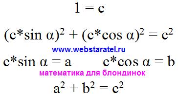 Теорема Пифагора. Превращение основного тригонометрического тождества в теорему Пифагора для треугольника. Геометрия теорема Пифагора формула. Математика для блондинок.