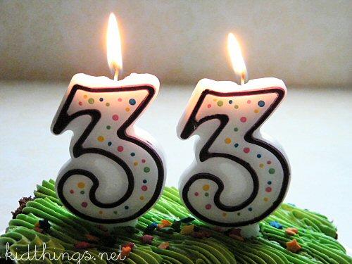 Поздравление на день рождения в 33