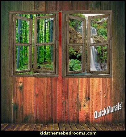 Woodland Cabin window wall mural decals