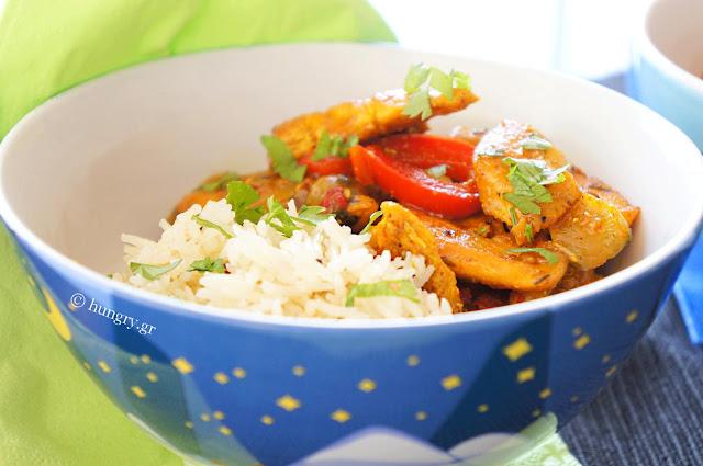 Κοτόπουλο Κάρυ με Ρύζι Μπασμάτι