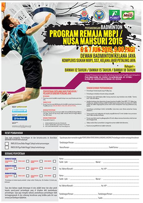 Pertandingan Badminton Remaja MBPJ/Nusa Mahsuri 2015