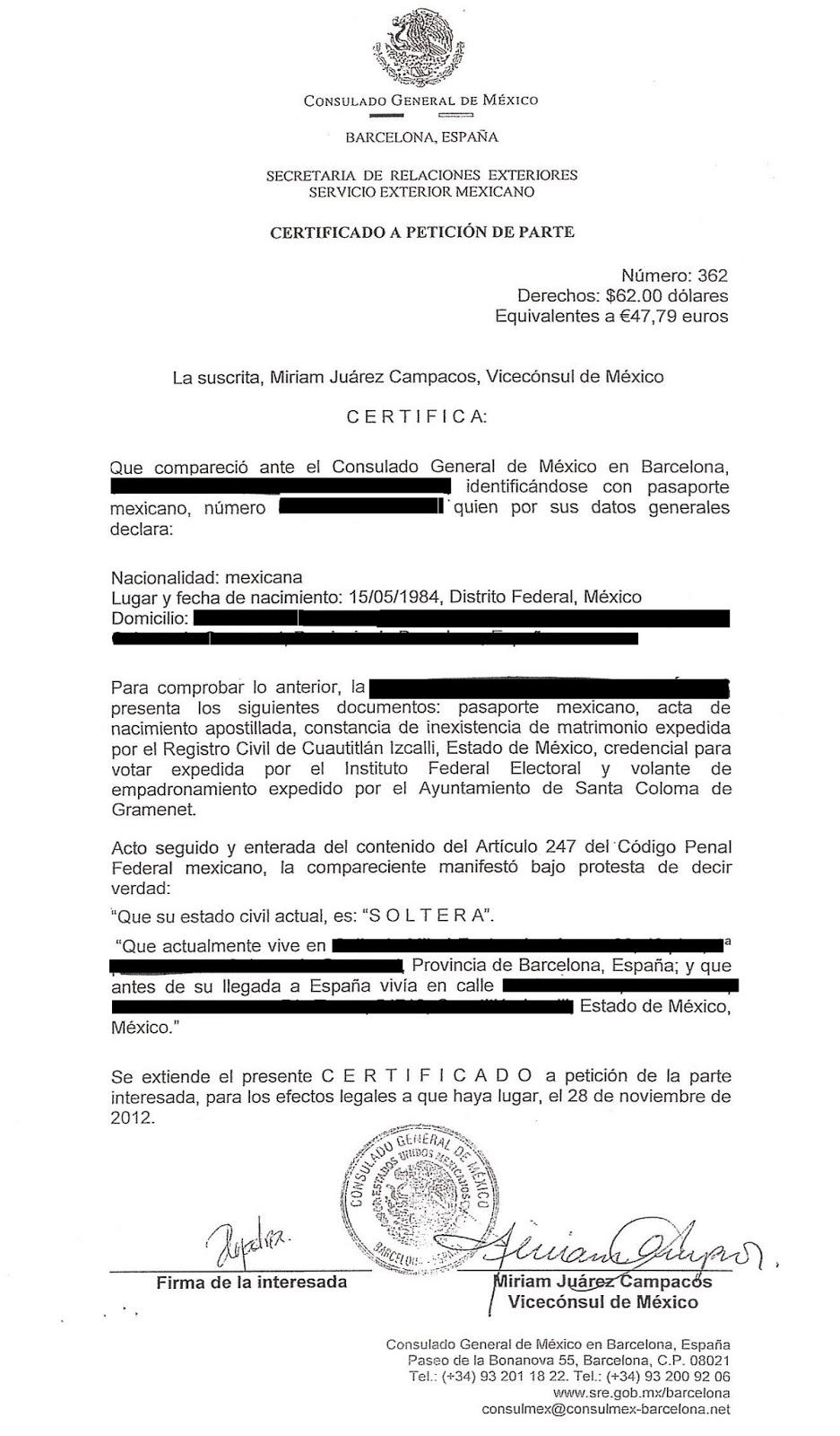 Noticias: Los mexicanos en Catalunya podrán certificar su estado civil