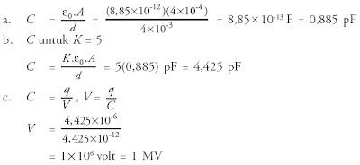 kapasitas kapasitor apabila diberi bahan dielektrik dengan konstanta